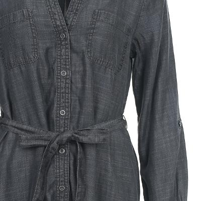 ribbon point denim dress grey